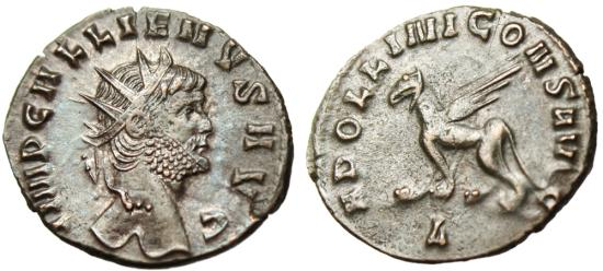 "Gallienus AE Zoo Ant. ""APOLILINI CONS AVG Griffin (Gryphon)"" Rome RIC 165 EF"