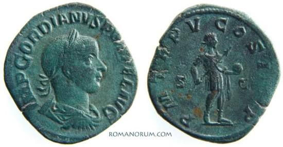 GORDIAN III. (238-244 AD) Sestertius, 19.52g. Rome. Nice patina.