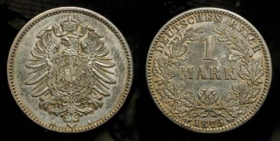 German Empire 1875-A  1 Mark Silver Coin.  KM-7
