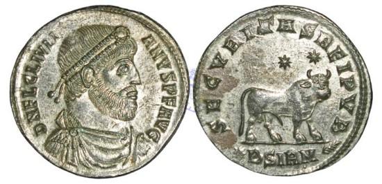"GF127 - Julian II (A.D. 360-363), Billon 'Maiorina"" 9.15g., Sirmium mint (Sremska Mitrovica, Serbia), 2nd officina"