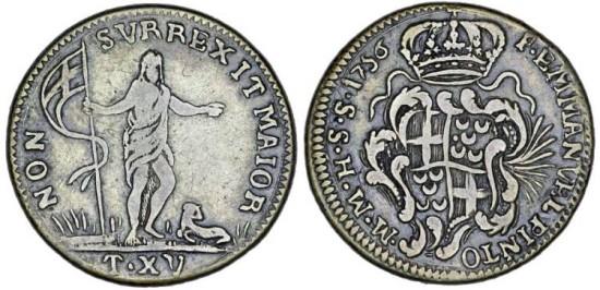 Malta. Order of Knights of St. John. Emmanuel Pinto de Fonseca (1741-1773). Silver 15 Tari 1756. VF