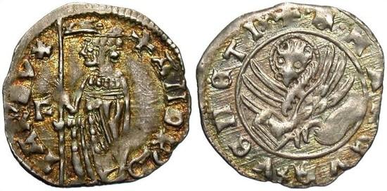Italian States-Venice, Andrea Contarini as Doge (1368-1382), Soldino, 1369-1379, Second Type, First Issue, Venice Mint, Fillipo Barbarigo as Moneyer (March 10, 1370-March 24, 1372)