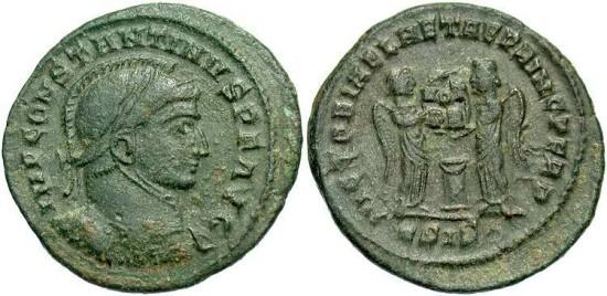 Constantine I, AE3, 319, Siscia, Officina 5 - RIC VII, 59