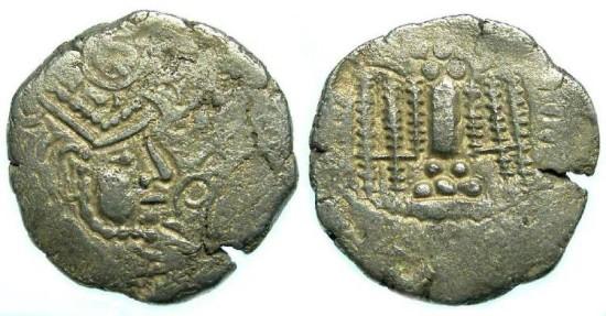 INDO-SASSANIAN. Gurjura Confederacy. 8th to 10th century. Billon Drachm.