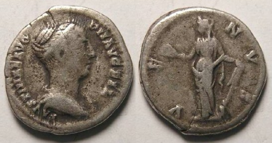 Faustina Jr. AD 147-175. Silver Denarius