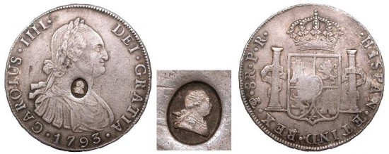 GREAT BRITAIN George III ND (1797) on 1793-PTS PR Bank Dollar (4 Shillings 9d) Choice EF