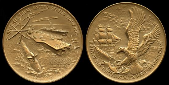 1975  United States - U.S. Navy 1775 Bicentennial Medal designed by Hal Reed, United States Mint. (#534)