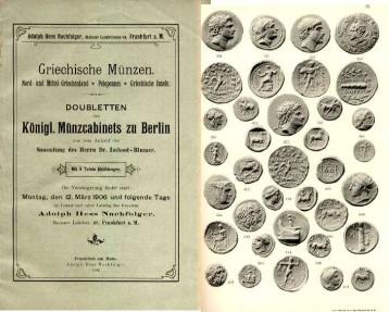 Hess: Imhoff-Blumer: GRIECHISCHE MUNZEN. DOUBLETTEN DES KONIGL MUNZCABINETS ZU BERLIN AUS DEM ANKAUF DER SAMMLUNG HERRN DR IMHOOF-BLUMER