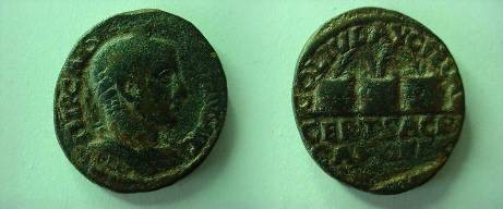 Gallienus AE 27 of Heliopolis, Coele Syria.  COL IVL AVG FEL HE, three agonistic urns containing palm branches, CERTSACR CAP OECV ISE HEL in three lines in ex.