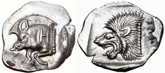 MYSIA. Kyzikos. Circa 450-400 BC. AR Obol. Exceptional flan and coin!.