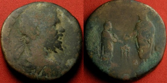SEPTIMIUS SEVERUS AE sestertius. Rome, 197 AD. VOTA PVBLICA, Severus & Caracalla sacrificing over altar. Very scarce.