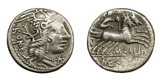M. CALIDUS with Q. METELLUS and CN. FULVIUS.   Denarius, Rome, 117 - 116 BC.   VF.