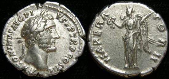 ANTONINUS PIUS, (138-161 A.D.), AR Denarius (3.45 gr, 18 mm). Struck 143-144 AD. Victory aEF