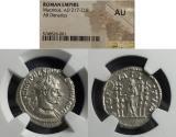Ancient Coins - Roman Empire, Macrinus 217-8, Denarius, NGC AU