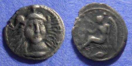 Ancient Coins - Morgantina Sicily - 1 1/4 litra (1/4 Drachm) Circa 344-317 BC