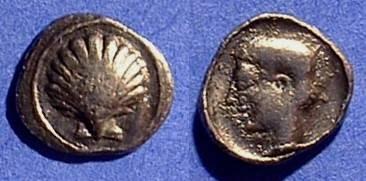 Ancient Coins - Taras Calabria 500-450BC AR Obol