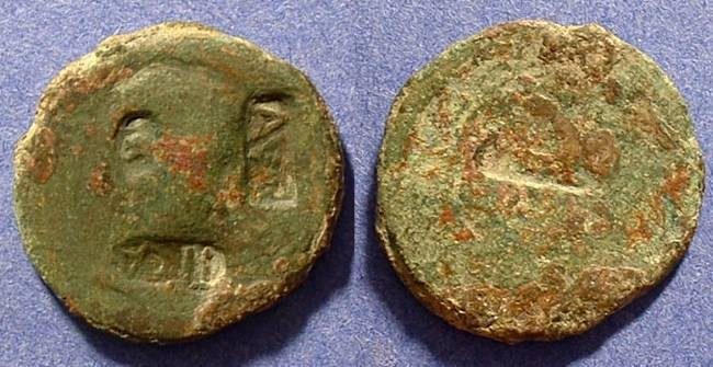Ancient Coins - Countermarked Aes of Augustus Circa 35AD