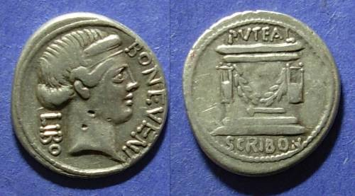 Ancient Coins - Roman Republic, L Scribonius Libo 62, Denarius