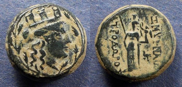 Ancient Coins - Ionia, Smyrna 75-50 BC, AE18