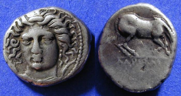Ancient Coins - Larissa Thessaly - Drachm 400-344 BC
