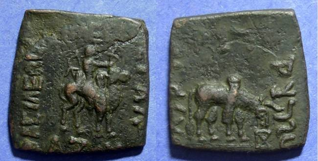 Ancient Coins - Indo Skythians, Azes 58-12 BC, 25mm square