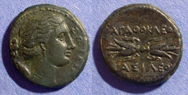 Ancient Coins - Syracuse Sicily - Agathocles 317-289BC AE-22