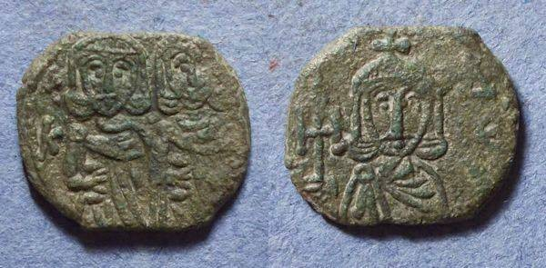 Ancient Coins - Byzantine Empire, Constantine V with Leo IV 741-775, Follis