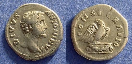 Ancient Coins - Divo Antoninus Pius denarius - D 161AD