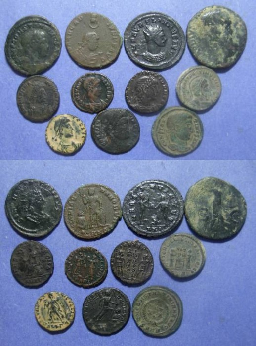 Ancient Coins - Roman Empire, 10 Bronze coins 1st to 5th Cent,