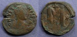 Ancient Coins - Byzantine Empire, Justin 518-527, Follis