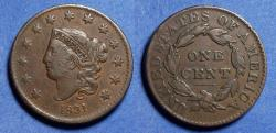 Us Coins - United States,  1831 Large letters,  Coronet Head Cent