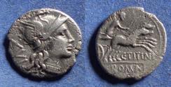 Ancient Coins - Roman Republic, C Titinius 141 BC, Silver Denarius