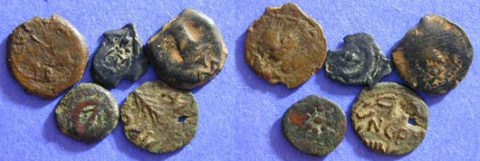 Ancient Coins - Five Ancient Jewish coins 100BC to 68AD