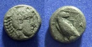 Ancient Coins - Macedonian Kingdom Amyntas III 393-369 BC Trihemiobol