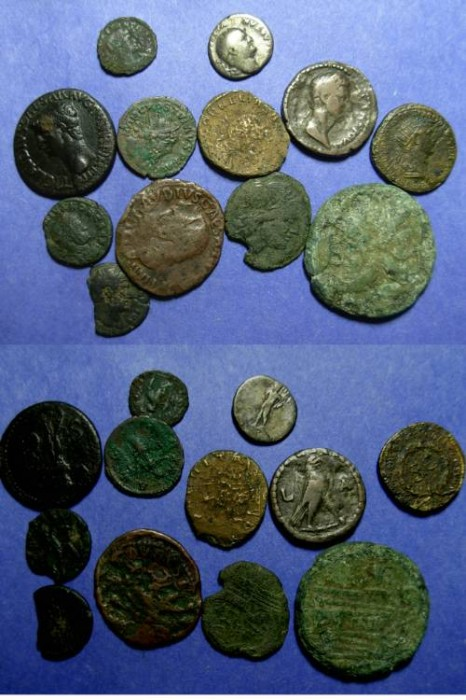 Ancient Coins - Group of 12 Roman coins - 200BC to 350 AD