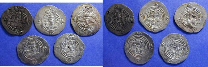 Ancient Coins - Sasanian Kingdom - Khusro II 590-628AD  - lot of 5 Drachms