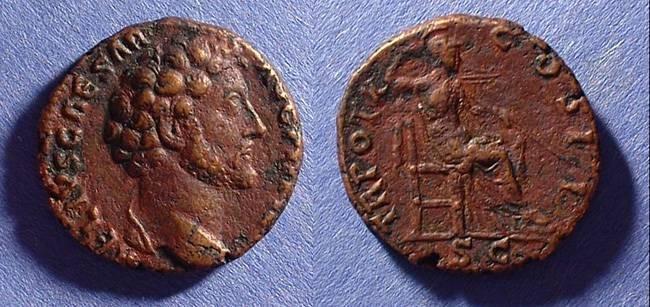 Ancient Coins - Marcus Aurelius (as Caesar under A Pius) 138-161AD Aes