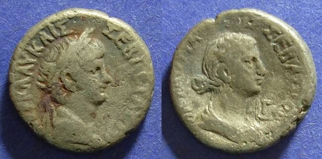 Ancient Coins - Roman Egypt, Nero 54-68 AD with Octavia - Tetradrachm