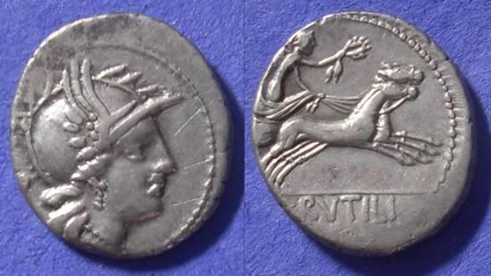 Ancient Coins - Roman Republic – Rutilia 1 Denarius  77BC