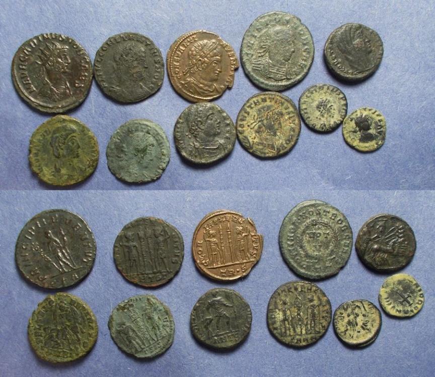 Ancient Coins - Roman Empire, Group of 11 Roman Bronze Coins ,