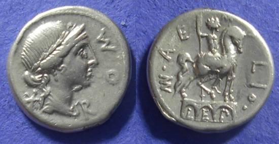 Ancient Coins - Roman Republic – Aemilia 7 114-3 BC Denarius