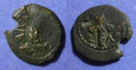Ancient Coins - Judaea, Marcus Ambibulus 9-10 AD, Prutah