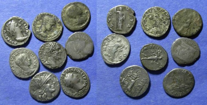 Ancient Coins - 8 Roman Silver coins Republic to 3rd Century