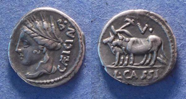 Ancient Coins - Roman Republic, L Cassuis Caecianus 102 BC, Denarius