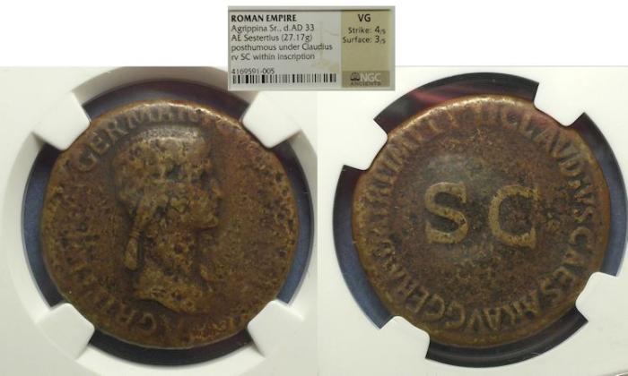 Ancient Coins - Roman Empire, Agrippina Sr d. 33, Sestertius NGC VG