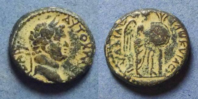 Ancient Coins - Judaea, Caesarea Maritima, Titus 69-79 AD, AE18