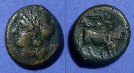 Ancient Coins - Campania, Neapolis 270-250 BC, AE19 (Litra)