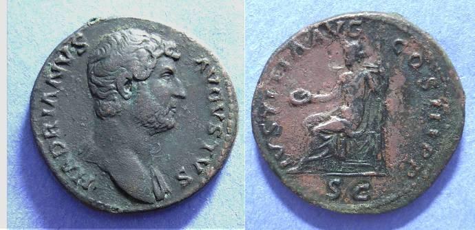 Ancient Coins - Hadrian - 117-138AD AE Aes