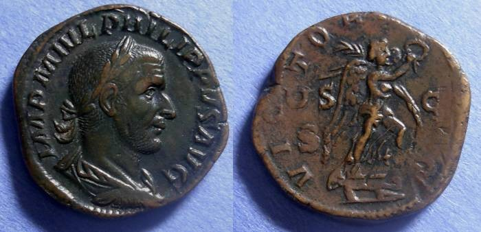 Ancient Coins - Roman Empire, Philip 244-249, Sestertius