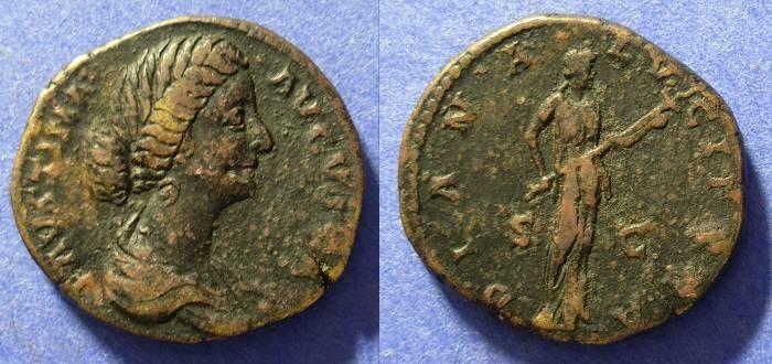 Ancient Coins - Faustina Jr - d. 175AD Aes